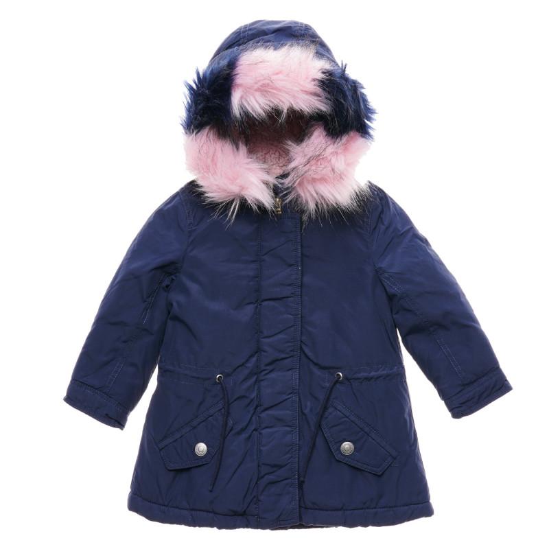 Geacă de iarnă cu puf și glugă pentru bebeluși, albastră  216067