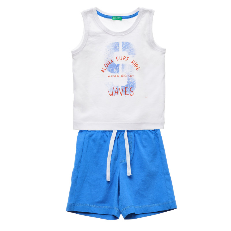 Set de pantaloni scurți și bluză din bumbac, alb și albastru  216079