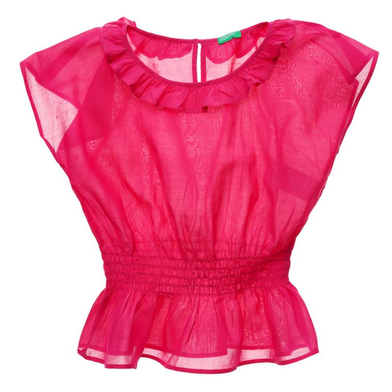 Bluză cu mâneci scurte și talie elastică, roz  216111