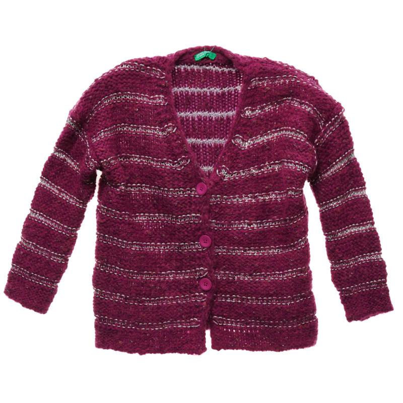 Cardigan tricotat cu fire argintii, violet  216127