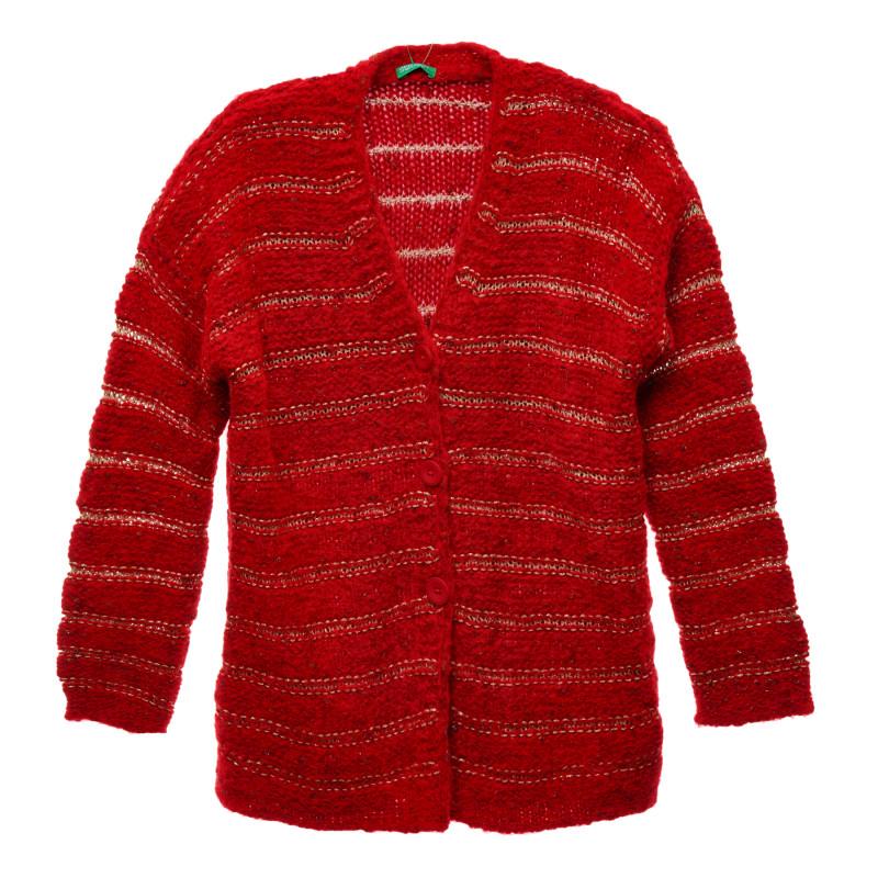 Cardigan tricotat cu fire aurii, roșu  216131