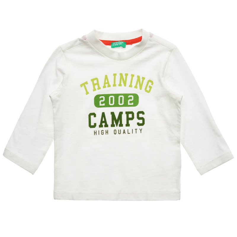 Bluză albă din bumbac cu inscripția Tabere de antrenament pentru bebeluși  216936