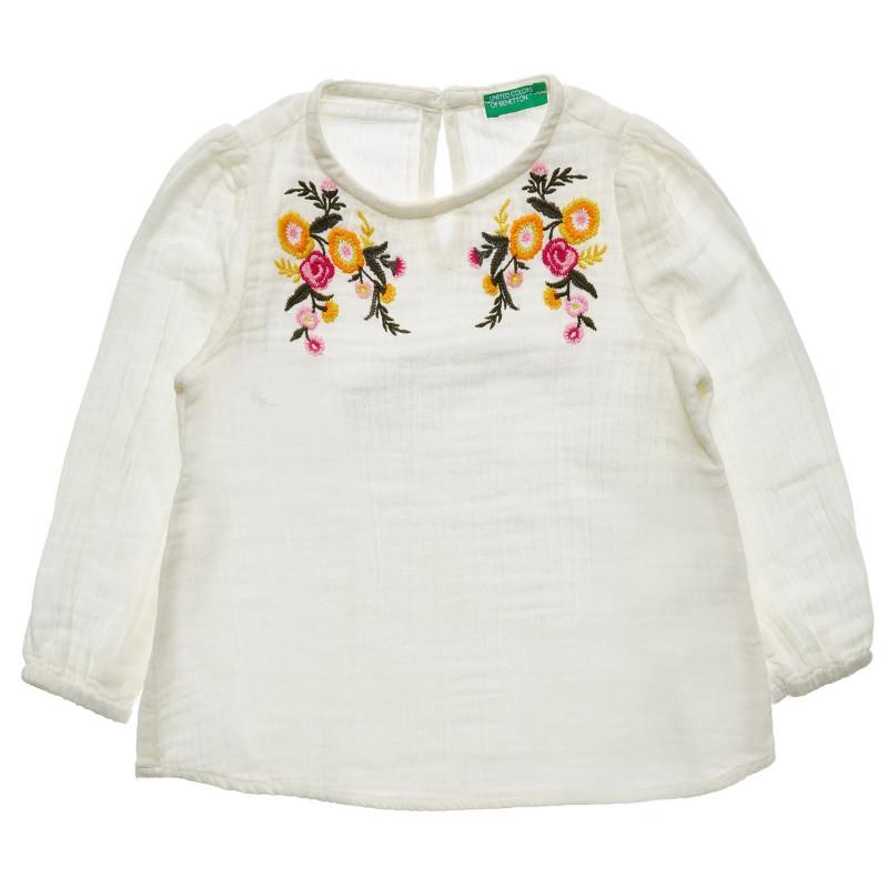 Bluză albă din bumbac cu mâneci lungi, cu motive florale  217088