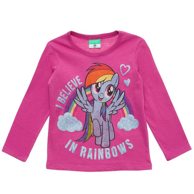 Bluză roz din bumbac cu inscripție din brocart pentru fetițe  217128