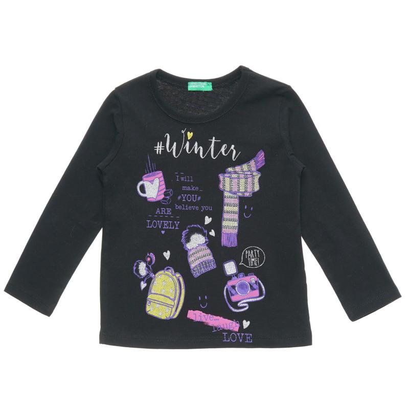 Bluză neagră din bumbac cu mâneci lungi și imprimeuri  217164
