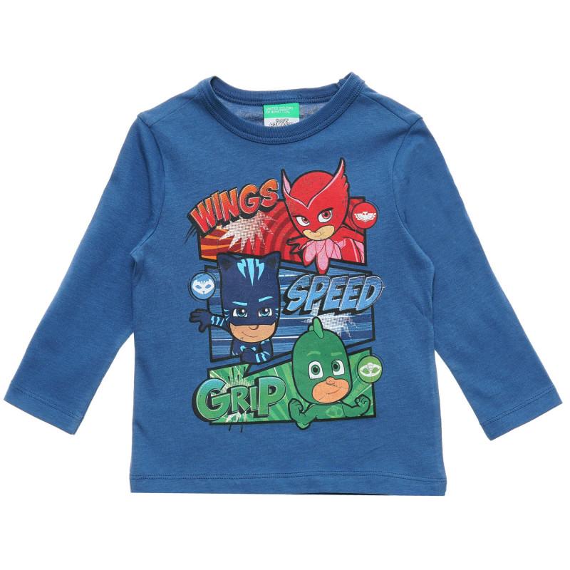 Bluză albastră cu mâneci lungi din bumbac, cu imprimeu  217176
