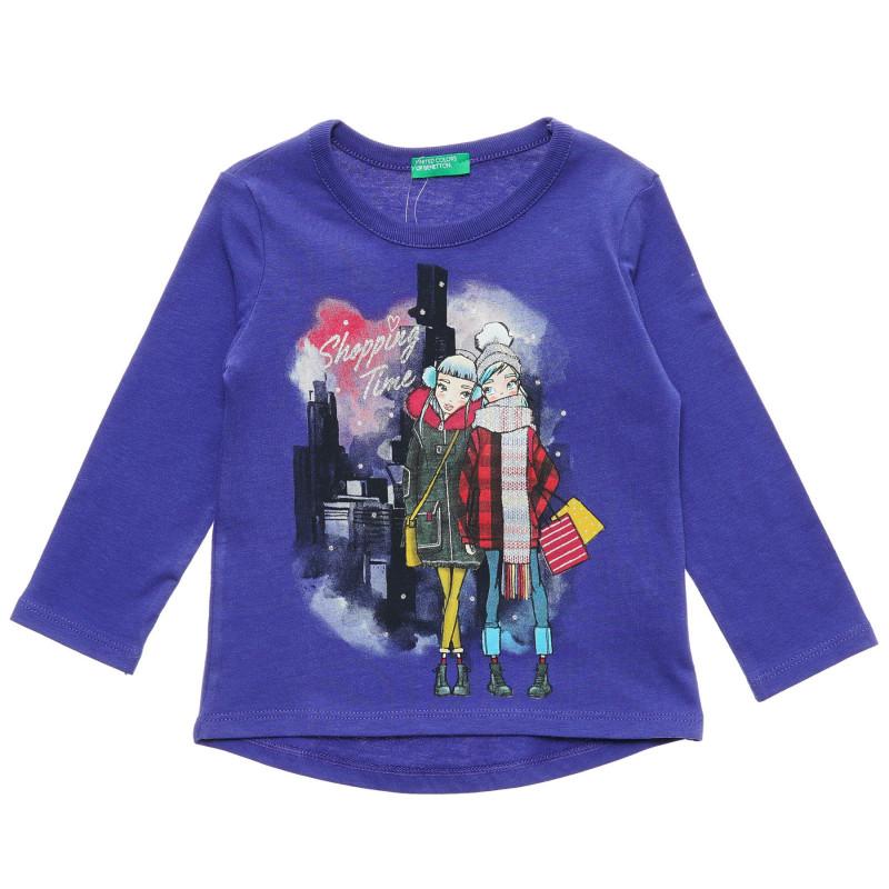 Bluză violet cu mâneci lungi din bumbac, cu imprimeu grafic  217180