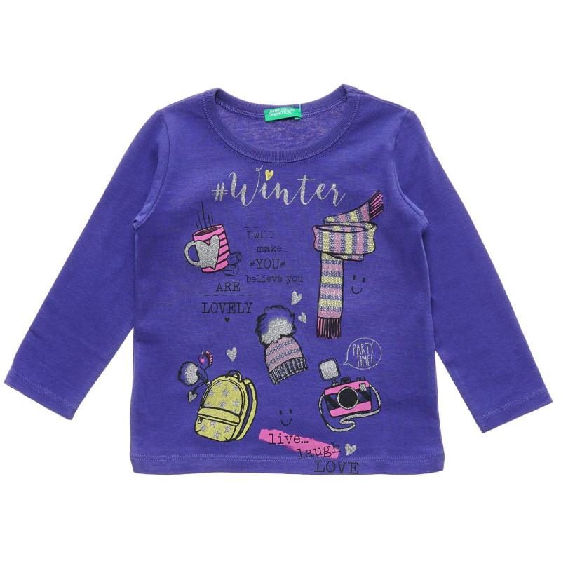 Bluză din bumbac cu mâneci lungi, violet  217184