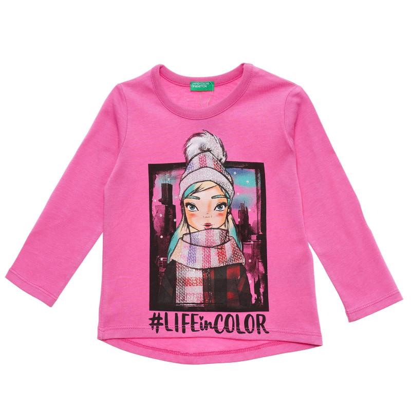 Bluză roz cu mâneci lungi din bumbac, cu imprimeu grafic  217192