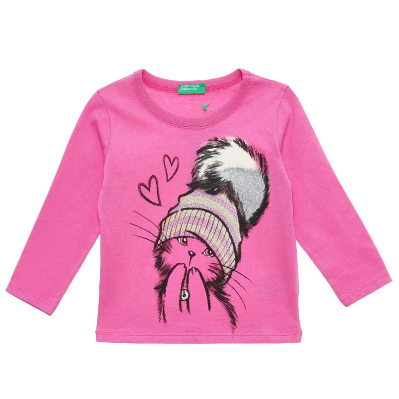 Bluză roz din bumbac cu mâneci lungi și imprimeu  217200