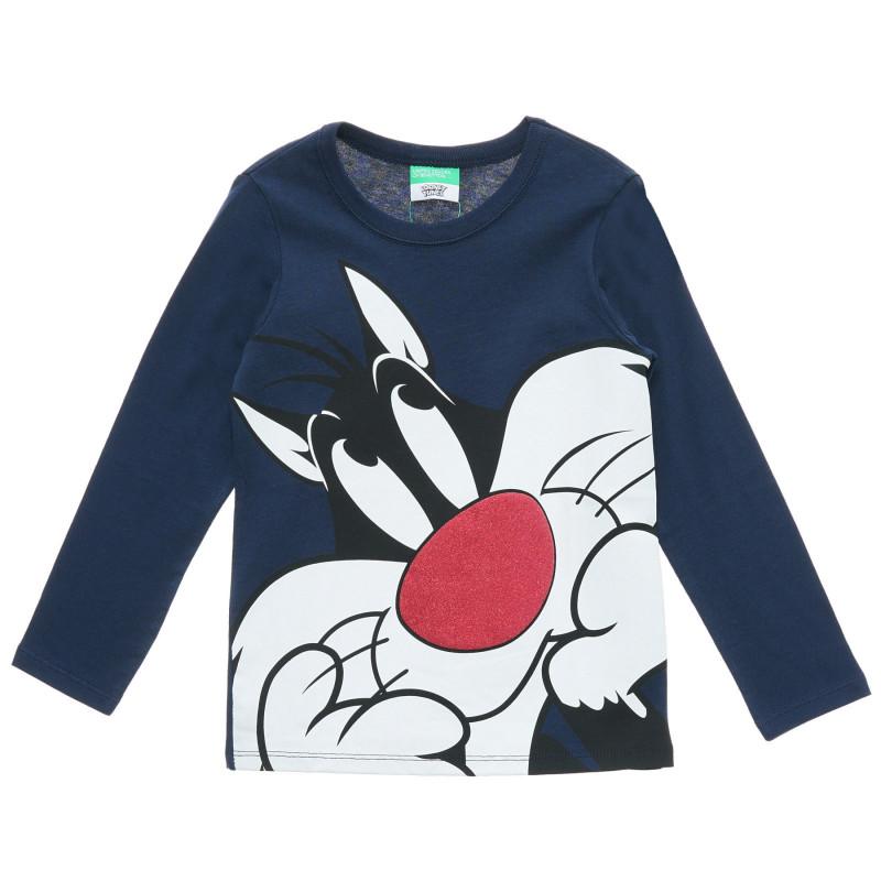 Bluză Looney Tunes din bumbac, albastru închis  217403