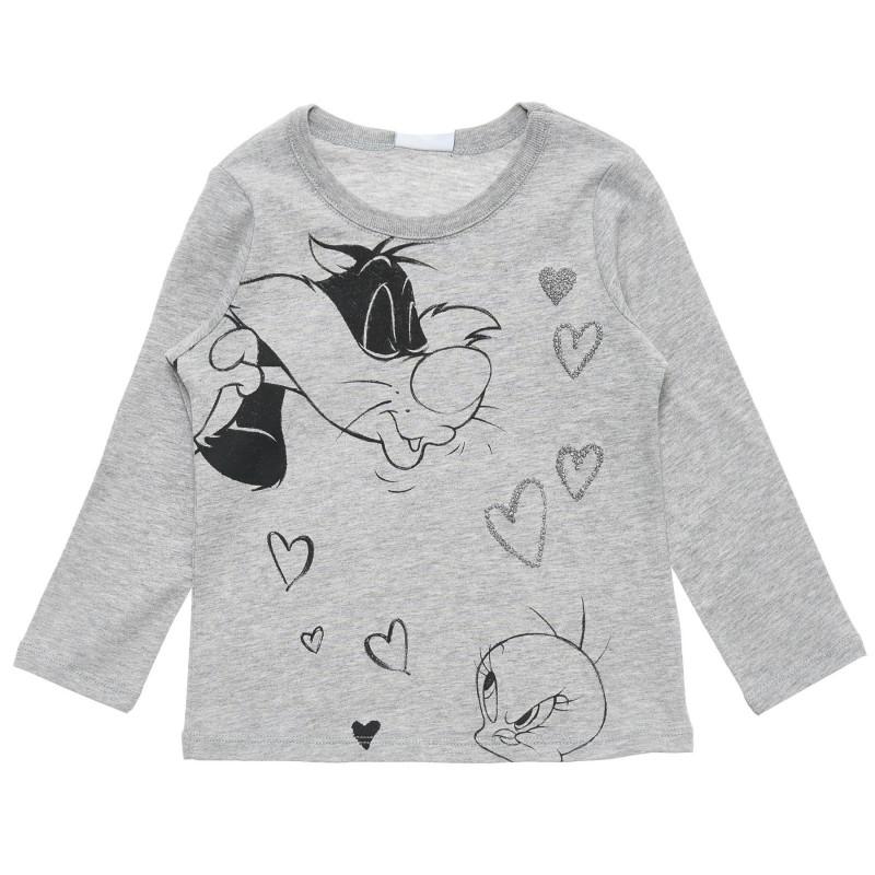 Bluză cu imprimeu Looney Tunes din bumbac, gri  217431