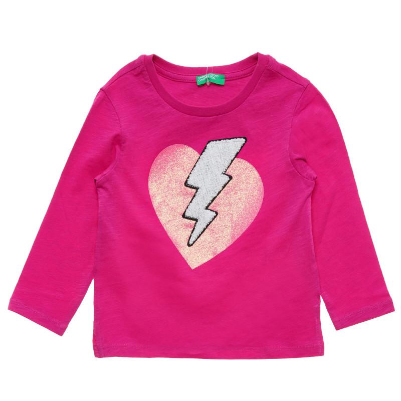 Bluză roz cu imprimeu inimă din bumbac   217463