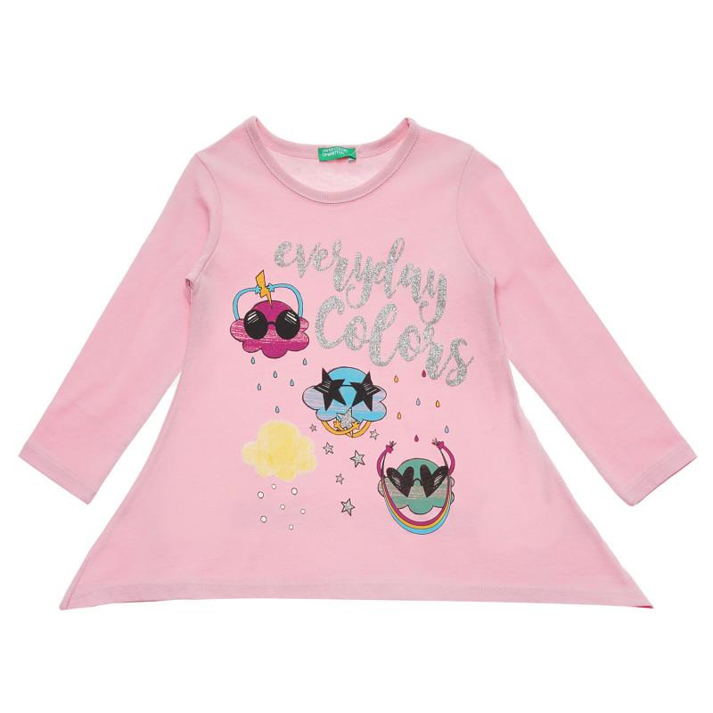Bluză roz cu mâneci lungi din bumbac, cu inscripție  217471