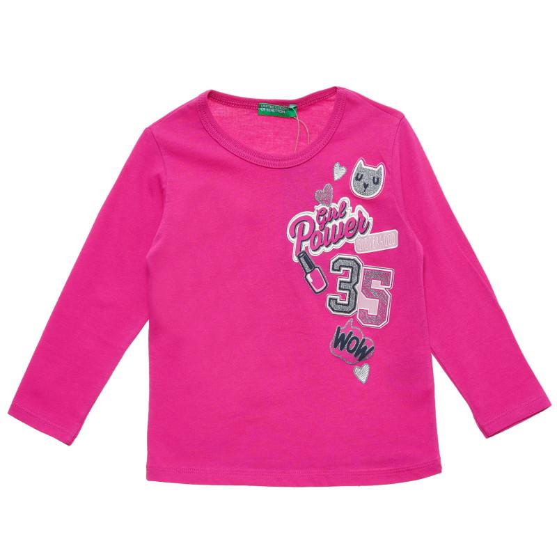 Bluză roz din bumbac cu inscripția Girl Power 35  217483