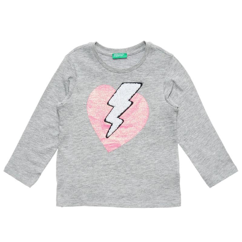 Bluză gri din bumbac cu imprimeu inimă pentru fete  217668