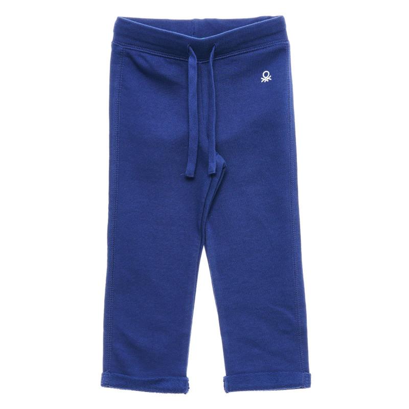 Pantaloni din bumbac cu sigla mărcii, albastru  217713