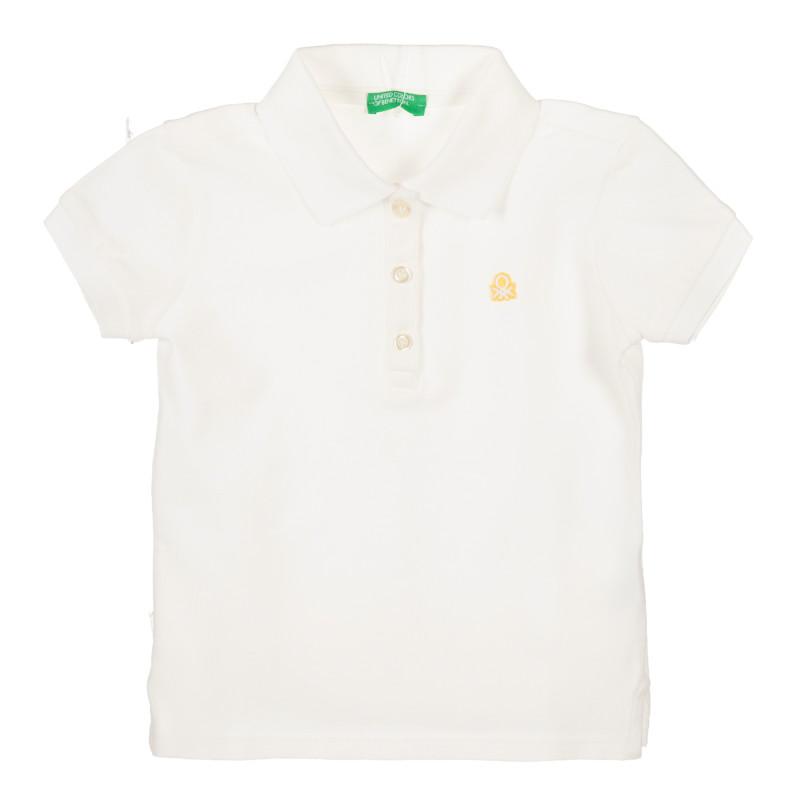 Bluză din bumbac alb cu mâneci scurte și sigla mărcii  217894