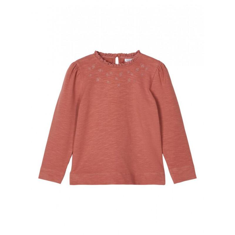 Bluză din bumbac cu mâneci bufante și volane, roz  218014