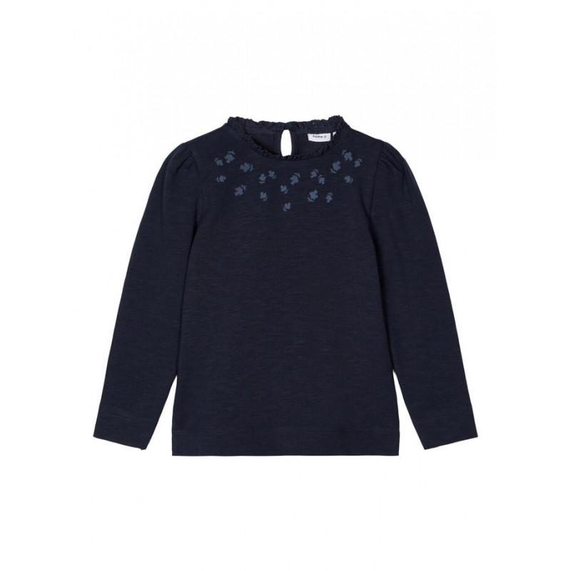 Bluză din bumbac cu mâneci bufante și volane, albastră  218017