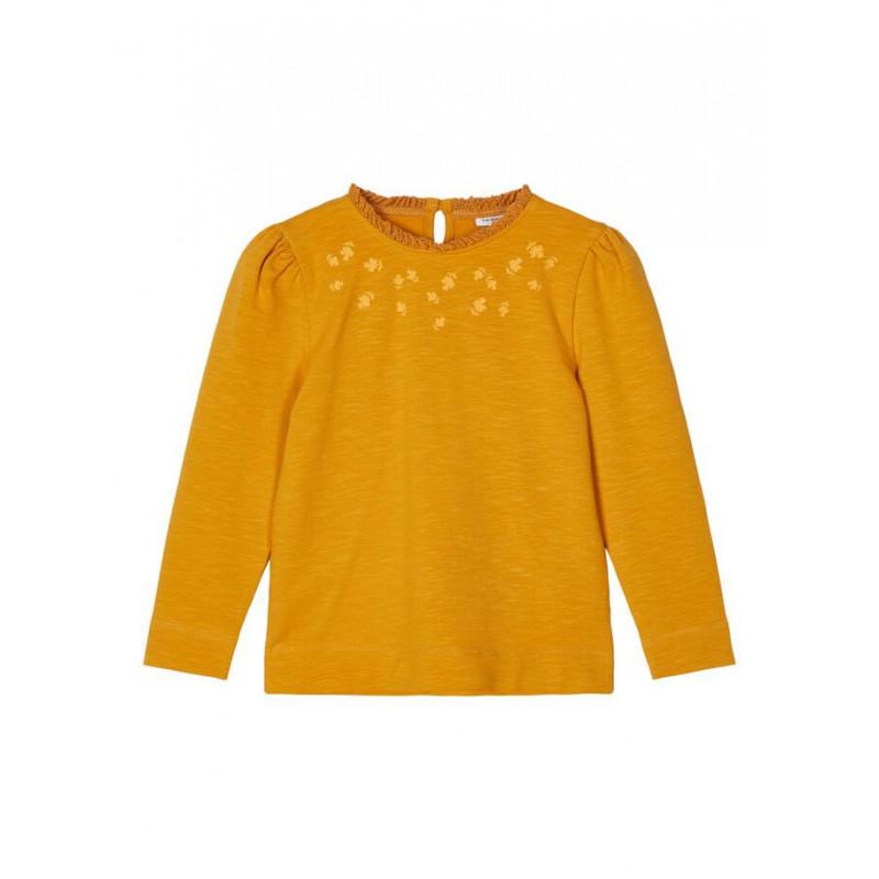 Bluză din bumbac cu mâneci bufante și volane, galbenă  218020