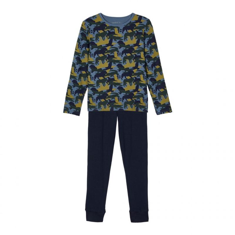 Pijamale din bumbac din două piese, albastre  218031
