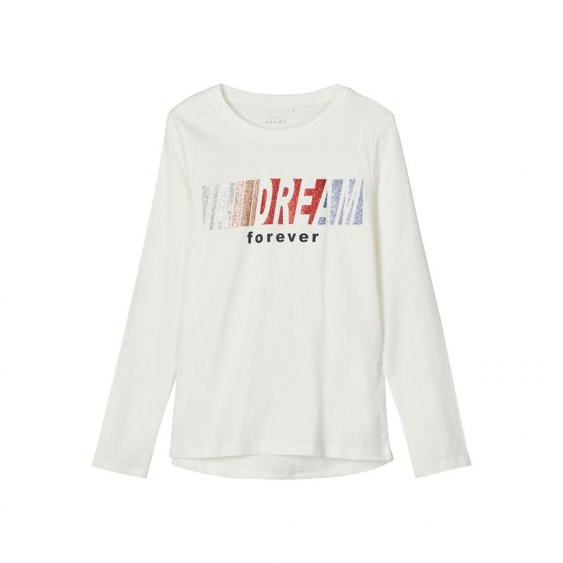 Bluză din bumbac organic cu imprimeu brocart, alb  218047