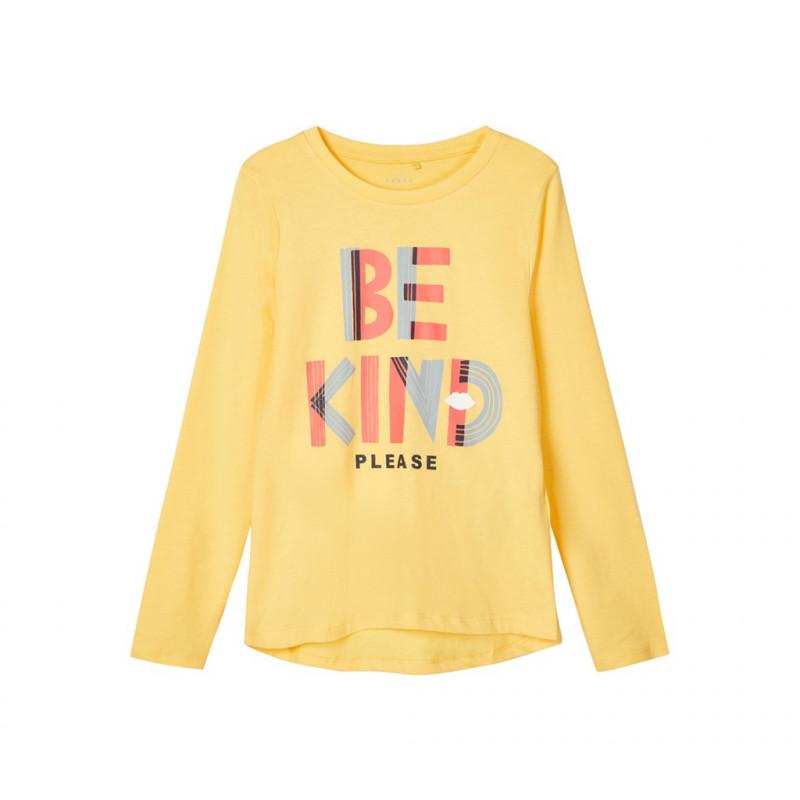Bluză din bumbac organic cu inscripție, galbenă  218050