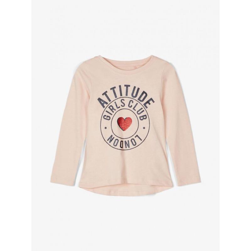 Bluza din bumbac organic cu imprimeu grafic, roz  218062