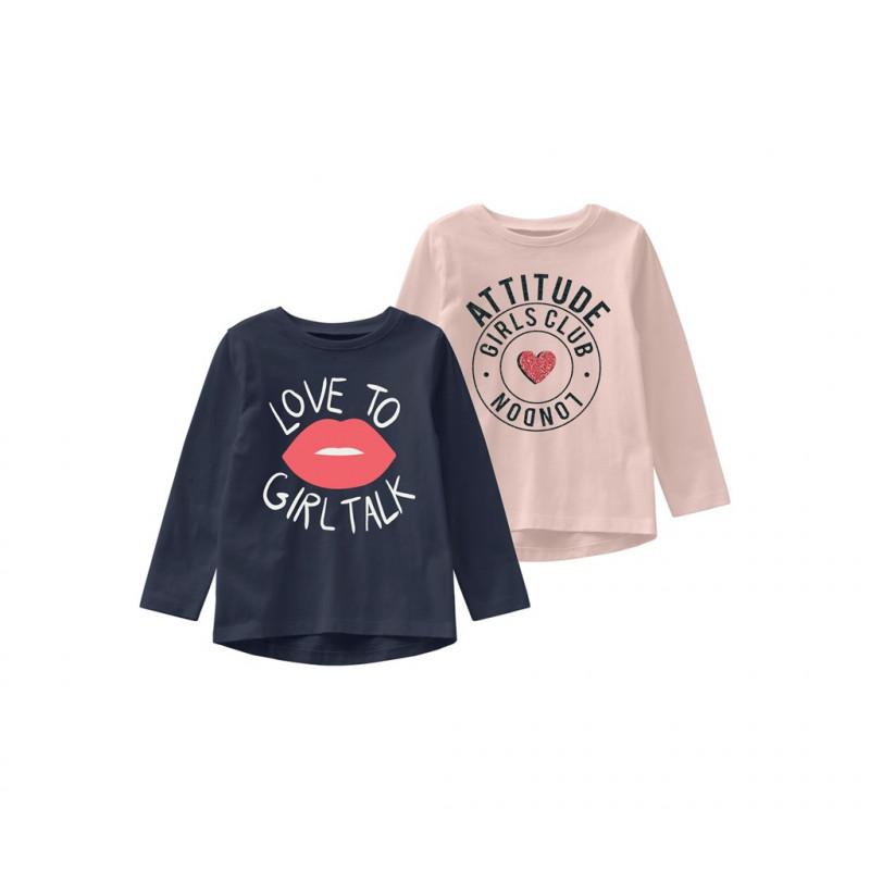 Set de două bluze din bumbac organic în albastru și roz  218065