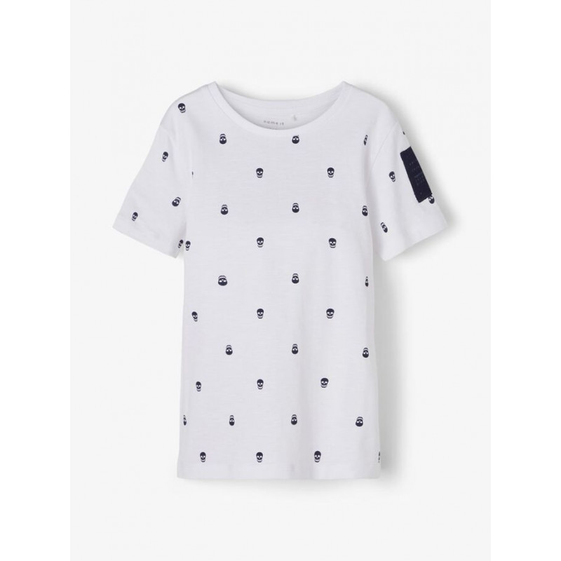 Tricou din bumbac organic cu imprimeu grafic, în alb  218290