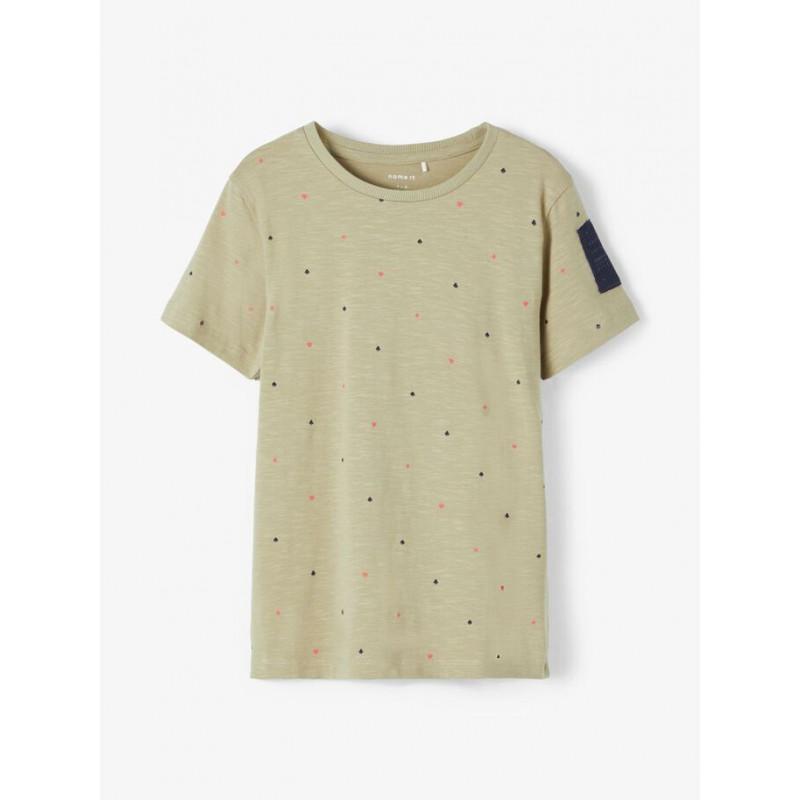 Tricou din bumbac organic cu imprimeu figural, bej  218296