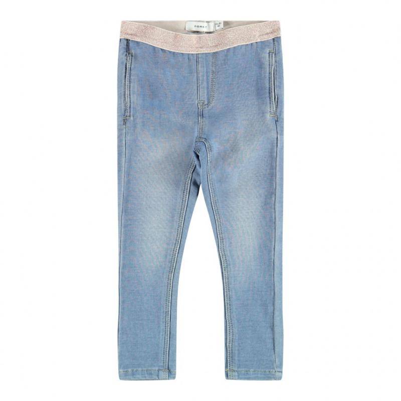 Blugi cu talie elastică și efect de uzură, albastru  218303