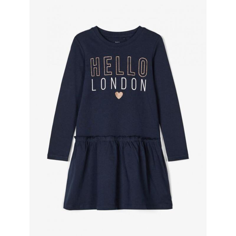 Rochie din bumbac cu inscripția Hello London, albastră  218305