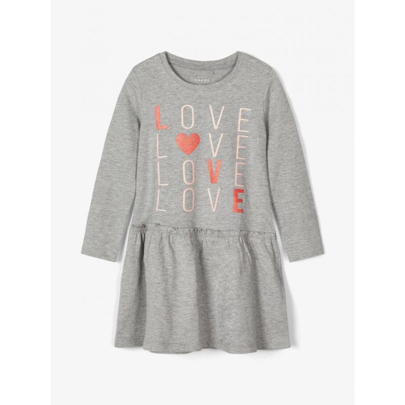 Rochie din bumbac cu inscripția Love, gri  218308