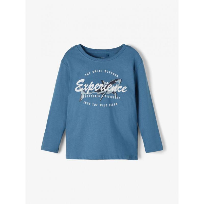 Bluza din bumbac organic cu imprimeu de rechin pentru bebeluși, albastră  218327