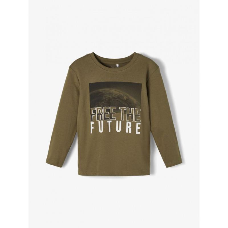 Bluză din bumbac organic cu imprimeu grafic pentru bebeluși, verde  218339