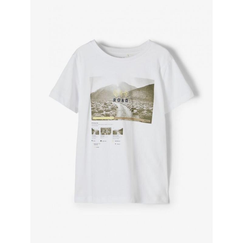 Tricou din bumbac organic cu imprimeu grafic, alb  218351