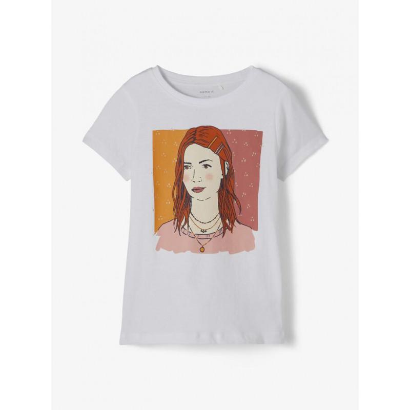 Tricou din bumbac organic cu imprimeu fată, alb  218389