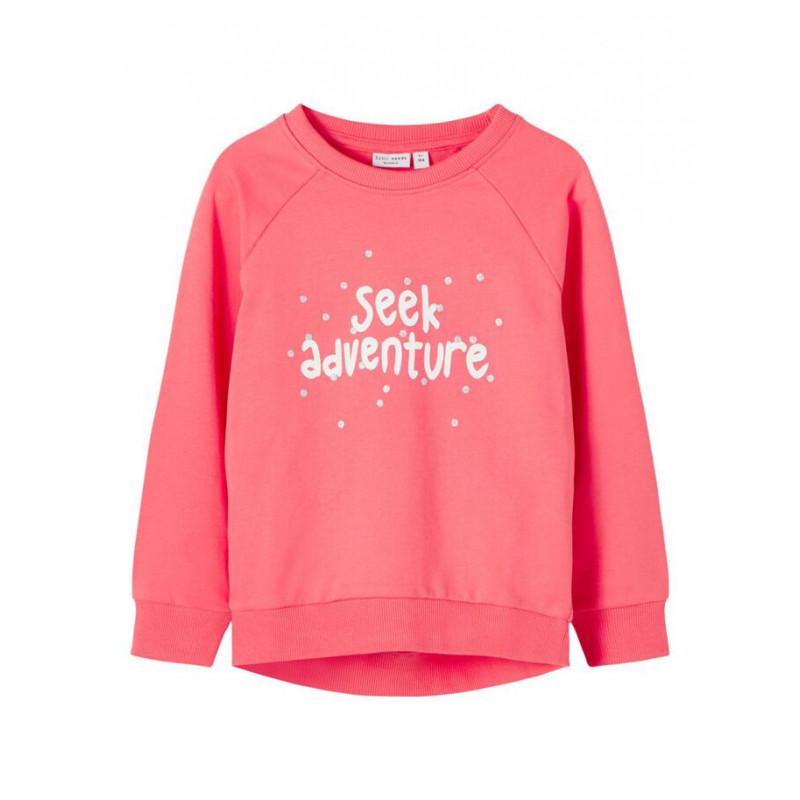 Hanorac din bumbac organic cu inscripție pentru bebeluși, roz  218438
