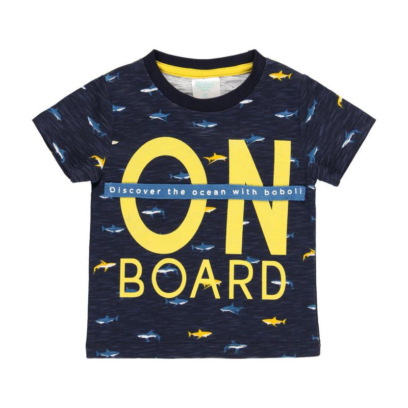 Tricou din bumbac Boboli cu imprimeu rechin  219050