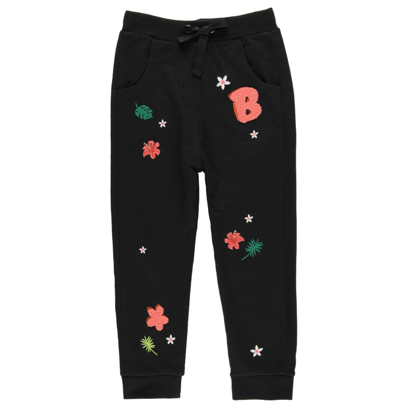 Pantaloni din bumbac cu imprimeu floral, negri  219201