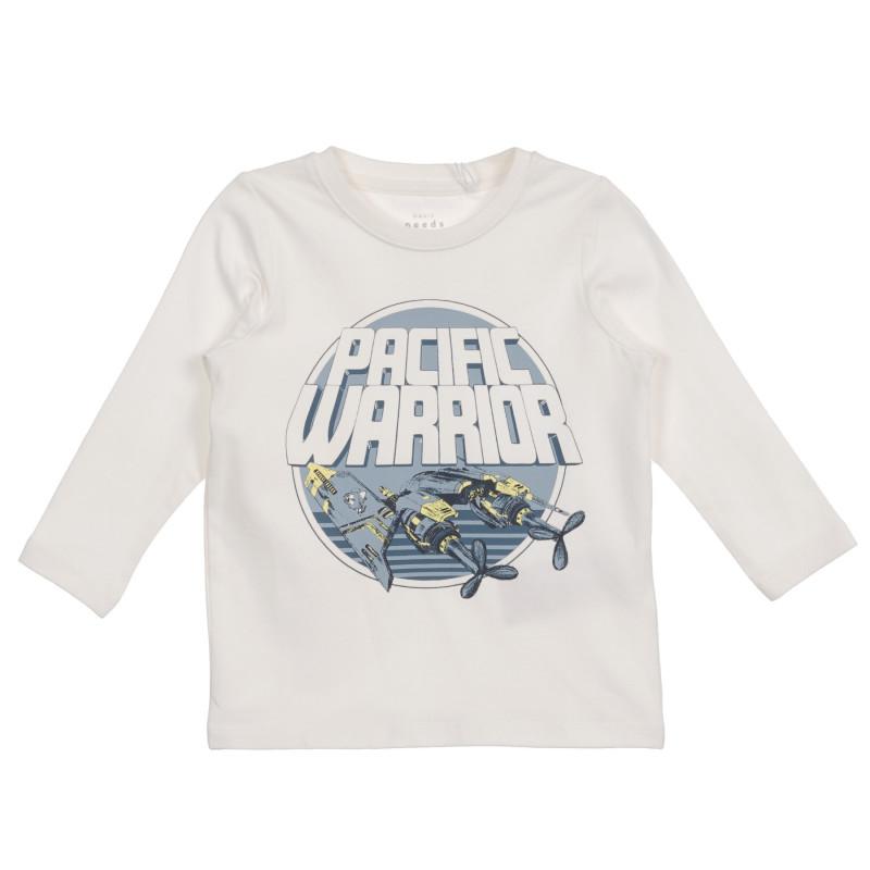 Bluză din bumbac organic cu imprimeu pentru bebeluși, albă  219536