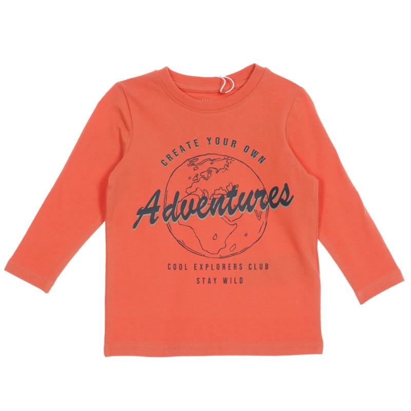 Bluza din bumbac organic cu imprimeu grafic pentru bebeluși, portocalie  219555
