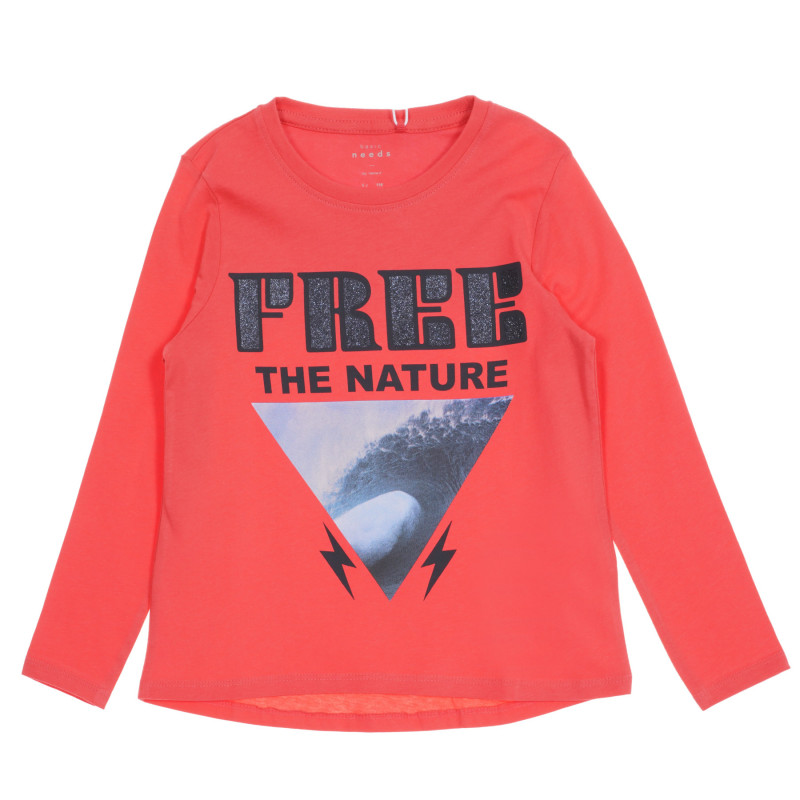 Bluză din bumbac organic cu imprimeu grafic, în roz  219563