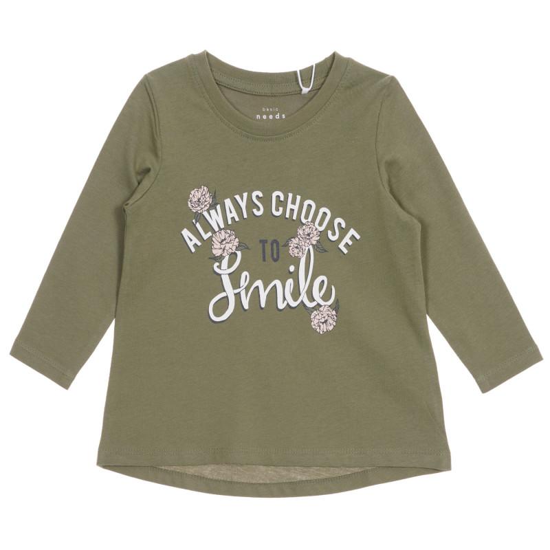 Bluză cu mâneci lungi din bumbac organic pentru bebeluși, verde  219578