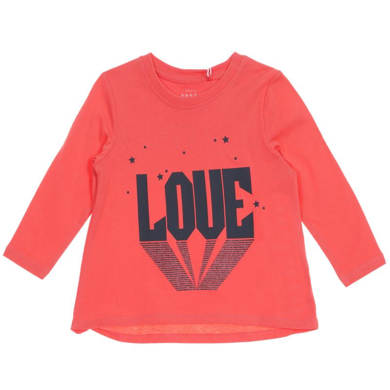 Bluză cu mâneci lungi din bumbac organic pentru bebeluși în culoarea coralului  219582
