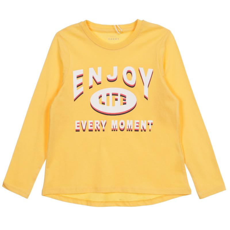 Bluză din bumbac organic cu imprimeu grafic, în galben  219590