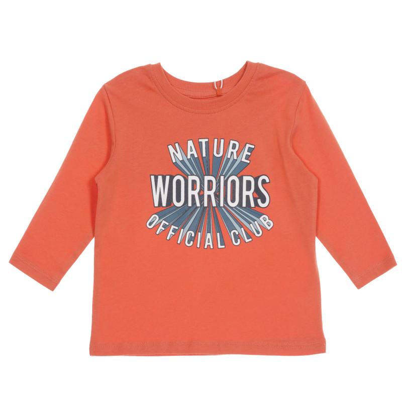 Bluza din bumbac organic cu imprimeu grafic pentru băieți, de culoare corai  219594