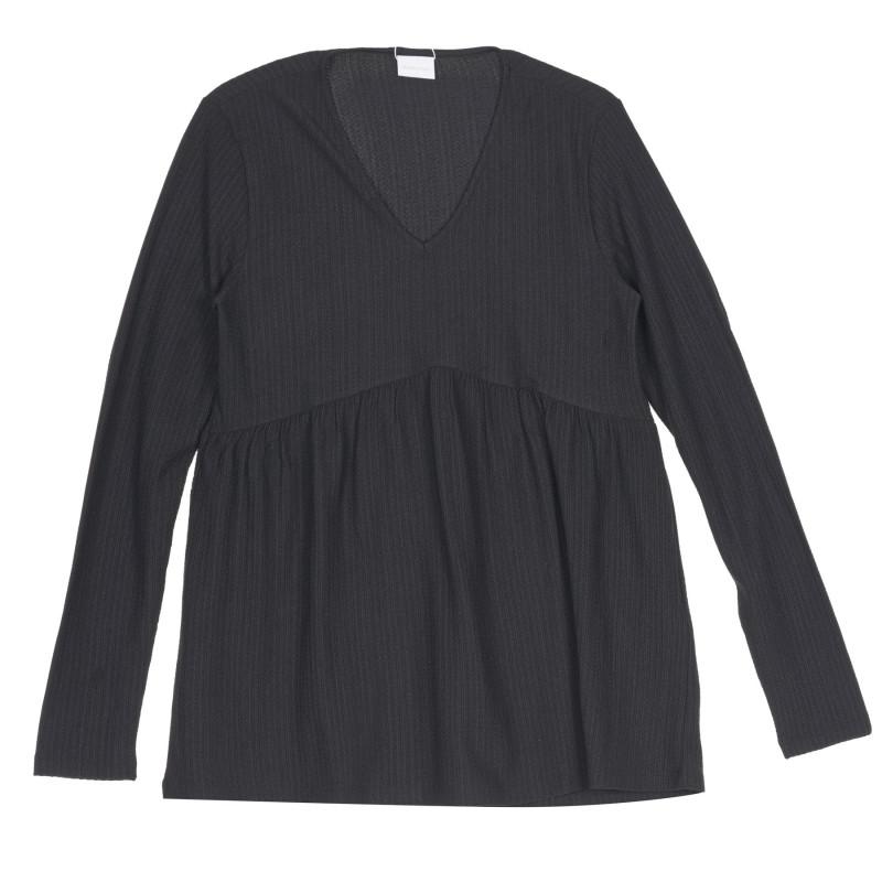 Bluză decupată cu mâneci lungi pentru gravide, neagră  222196